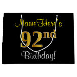 [ Thumbnail: Elegant, Black, Faux Gold 92nd Birthday + Name Gift Bag ]