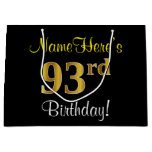 [ Thumbnail: Elegant, Black, Faux Gold 93rd Birthday + Name Gift Bag ]