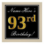 [ Thumbnail: Elegant, Black, Faux Gold 93rd Birthday + Name Poster ]