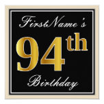 [ Thumbnail: Elegant, Black, Faux Gold 94th Birthday + Name Invitation ]