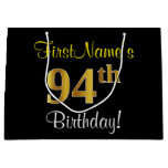 [ Thumbnail: Elegant, Black, Faux Gold 94th Birthday + Name Gift Bag ]
