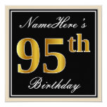 [ Thumbnail: Elegant, Black, Faux Gold 95th Birthday + Name Invitation ]