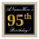 [ Thumbnail: Elegant, Black, Faux Gold 95th Birthday + Name Poster ]