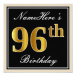 [ Thumbnail: Elegant, Black, Faux Gold 96th Birthday + Name Invitation ]