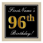 [ Thumbnail: Elegant, Black, Faux Gold 96th Birthday + Name Poster ]