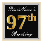 [ Thumbnail: Elegant, Black, Faux Gold 97th Birthday + Name Invitation ]