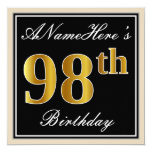 [ Thumbnail: Elegant, Black, Faux Gold 98th Birthday + Name Invitation ]