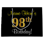 [ Thumbnail: Elegant, Black, Faux Gold 98th Birthday + Name Gift Bag ]