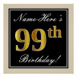 [ Thumbnail: Elegant, Black, Faux Gold 99th Birthday + Name Poster ]