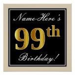 [ Thumbnail: Elegant, Black, Faux Gold 99th Birthday + Name Poster ]