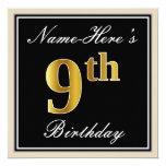 [ Thumbnail: Elegant, Black, Faux Gold 9th Birthday + Name Invitation ]