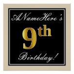 [ Thumbnail: Elegant, Black, Faux Gold 9th Birthday + Name Poster ]