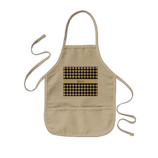 Elegant Black & Faux Gold Checkers Kids' Apron