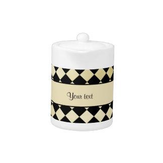 Elegant Black & Faux Gold Checkers Teapot