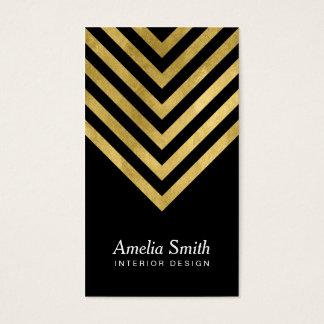 Elegant Black Faux Gold Geometric Social Media Business Card