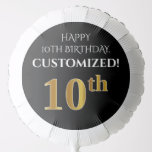 [ Thumbnail: Elegant, Black, Faux Gold Look 10th Birthday Balloon ]