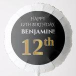 [ Thumbnail: Elegant, Black, Faux Gold Look 12th Birthday Balloon ]