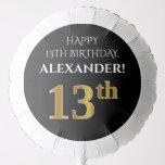 [ Thumbnail: Elegant, Black, Faux Gold Look 13th Birthday Balloon ]
