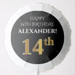 [ Thumbnail: Elegant, Black, Faux Gold Look 14th Birthday Balloon ]