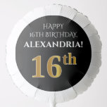 [ Thumbnail: Elegant, Black, Faux Gold Look 16th Birthday Balloon ]