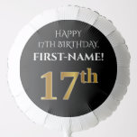 [ Thumbnail: Elegant, Black, Faux Gold Look 17th Birthday Balloon ]