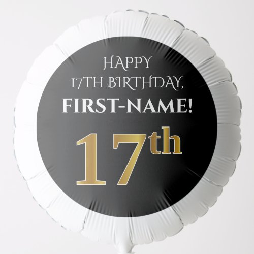 Elegant Black Faux Gold Look 17th Birthday Balloon