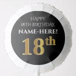 [ Thumbnail: Elegant, Black, Faux Gold Look 18th Birthday Balloon ]