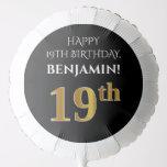[ Thumbnail: Elegant, Black, Faux Gold Look 19th Birthday Balloon ]