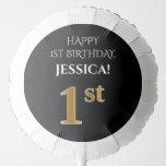 [ Thumbnail: Elegant, Black, Faux Gold Look 1st Birthday Balloon ]