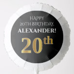 [ Thumbnail: Elegant, Black, Faux Gold Look 20th Birthday Balloon ]