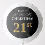 [ Thumbnail: Elegant, Black, Faux Gold Look 21st Birthday Balloon ]