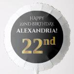 [ Thumbnail: Elegant, Black, Faux Gold Look 22nd Birthday Balloon ]