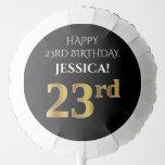 [ Thumbnail: Elegant, Black, Faux Gold Look 23rd Birthday Balloon ]