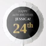 [ Thumbnail: Elegant, Black, Faux Gold Look 24th Birthday Balloon ]