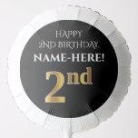 [ Thumbnail: Elegant, Black, Faux Gold Look 2nd Birthday Balloon ]