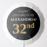 [ Thumbnail: Elegant, Black, Faux Gold Look 32nd Birthday Balloon ]