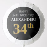[ Thumbnail: Elegant, Black, Faux Gold Look 34th Birthday Balloon ]