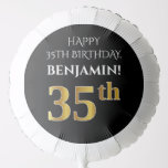 [ Thumbnail: Elegant, Black, Faux Gold Look 35th Birthday Balloon ]
