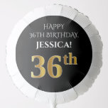 [ Thumbnail: Elegant, Black, Faux Gold Look 36th Birthday Balloon ]