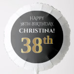 [ Thumbnail: Elegant, Black, Faux Gold Look 38th Birthday Balloon ]