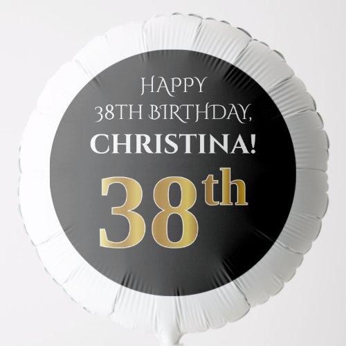 Elegant Black Faux Gold Look 38th Birthday Balloon