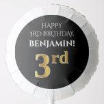 [ Thumbnail: Elegant, Black, Faux Gold Look 3rd Birthday Balloon ]