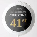 [ Thumbnail: Elegant, Black, Faux Gold Look 41st Birthday Balloon ]