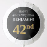 [ Thumbnail: Elegant, Black, Faux Gold Look 42nd Birthday Balloon ]