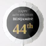 [ Thumbnail: Elegant, Black, Faux Gold Look 44th Birthday Balloon ]