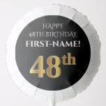 [ Thumbnail: Elegant, Black, Faux Gold Look 48th Birthday Balloon ]