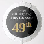 [ Thumbnail: Elegant, Black, Faux Gold Look 49th Birthday Balloon ]