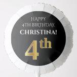 [ Thumbnail: Elegant, Black, Faux Gold Look 4th Birthday Balloon ]