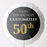 [ Thumbnail: Elegant, Black, Faux Gold Look 50th Birthday Balloon ]
