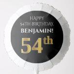 [ Thumbnail: Elegant, Black, Faux Gold Look 54th Birthday Balloon ]